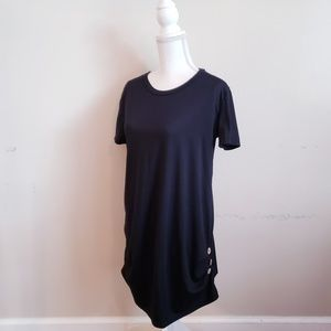 Black Button Detailed Short Sleeve Top